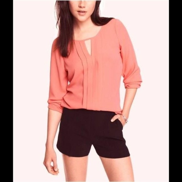 Express Tops - Express Pleated Keyhole Blouse Top Coral S